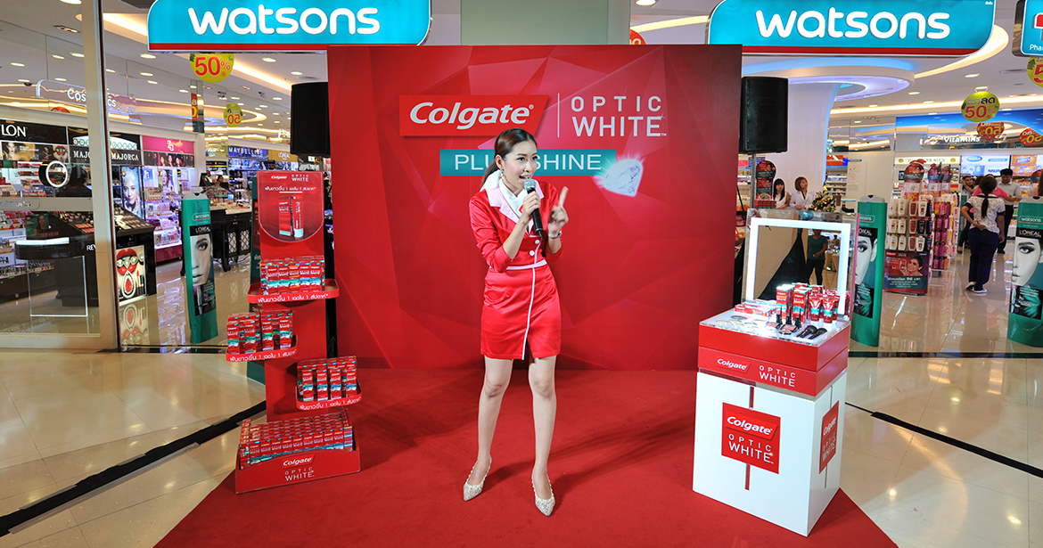 Exhibition Booth Bangkok : Colgate optic white roadshow watsons chawawa one stop